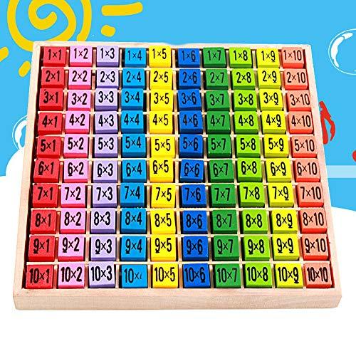 FeiyanfyQ 10x10cm Madera 99 Multiplicación Tabla de la Enseñanza de Matemáticas Ayudas Educativos Niño Juguete