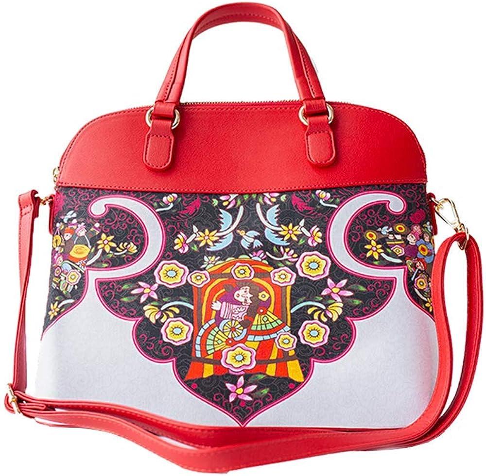 SM054 Women's Vintage Ethnic Handbags B Overseas parallel import regular item 55% OFF Tote Print Style Satchel