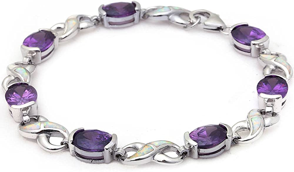 Oxford Diamond Co .925 Sterling Silver Oval Simulated Amethyst