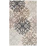 SUPERIOR Contemporary Leigh Collection Area Rug -Modern Area Rug, 8 mm Pile, Floral Medallion Design with Jute Backing, Beige, 5' x 8'