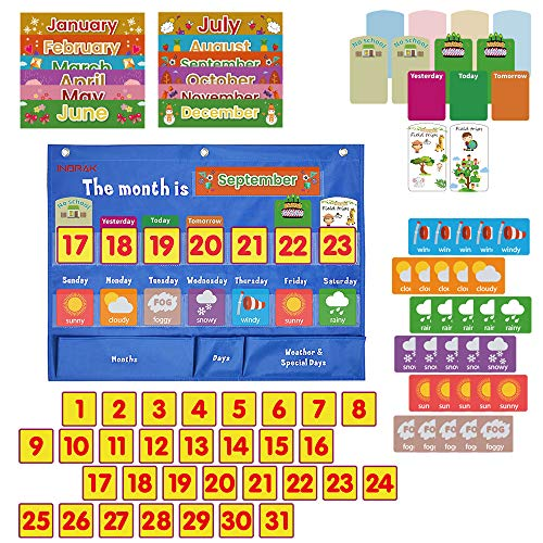 INDRAK Weekly Classroom Calendar Pocket Chart Weekly Calendar for Kids-Days Months and Special Days Classroom Pocket Calendar Home-Schooling Weekly Calendar for Pre-School 18'x 24'