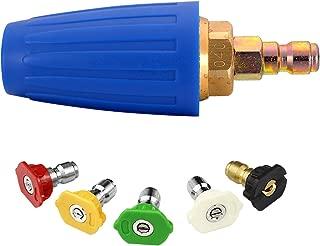 Challco 4000PSI Pressure Washer Rotating Turbo Nozzle 4.0 Orifice 4 GPM with Spray Nozzle Tips Kit.