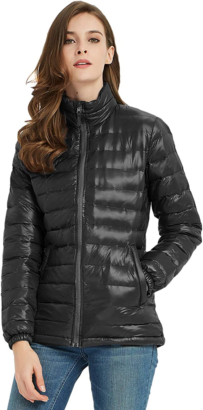 SUNDAY ROSE Women's Hooded Puffer Jacket Water-Resistant Insulated Quilted Coat