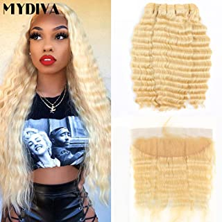 Mydiva Hair Deep Wave 613 Blonde human hair with Frontal Virgin Hair 3 Bundles With Lace Front Brazilian Curly Deep Honey Blonde Human Hair Bundles (24 26 28+20, bundles with frontal)