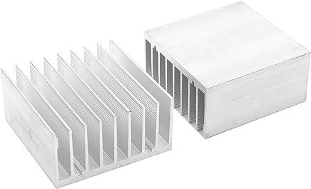 Dorhea 5 Pcs Silver Tone Aluminium Radiator Heatsink 100mm x25mm x 10mm Heat Sink Module Cooler Fin for High Power Amplifier Transistor Semiconductor Devices IC MOSFET SCR
