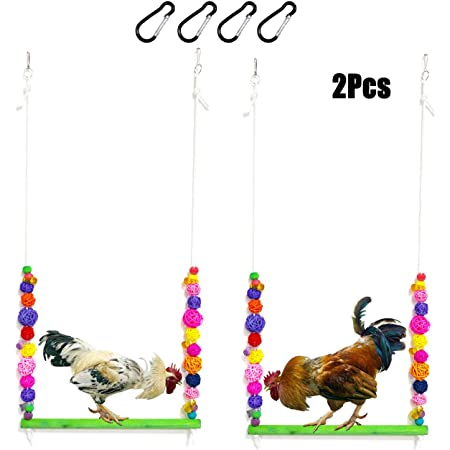 Vehomy Large Chicken Swing Chicken Toy for Adult Hens Natural Wood Chicken Swing with Thick Bar and Artificial Leaves Suitable for Large Bird Parrot Macaw Rooster and Hen
