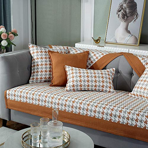 YUTJK Sofa SlipCover for Furniture,Chenille Houndstooth Non-slip Sofa Cushion,High-grade Fabric Solid Wood Sofa Cover,Bedroom Bay Window Mat-Orange_45x45cm(Pillowcase)