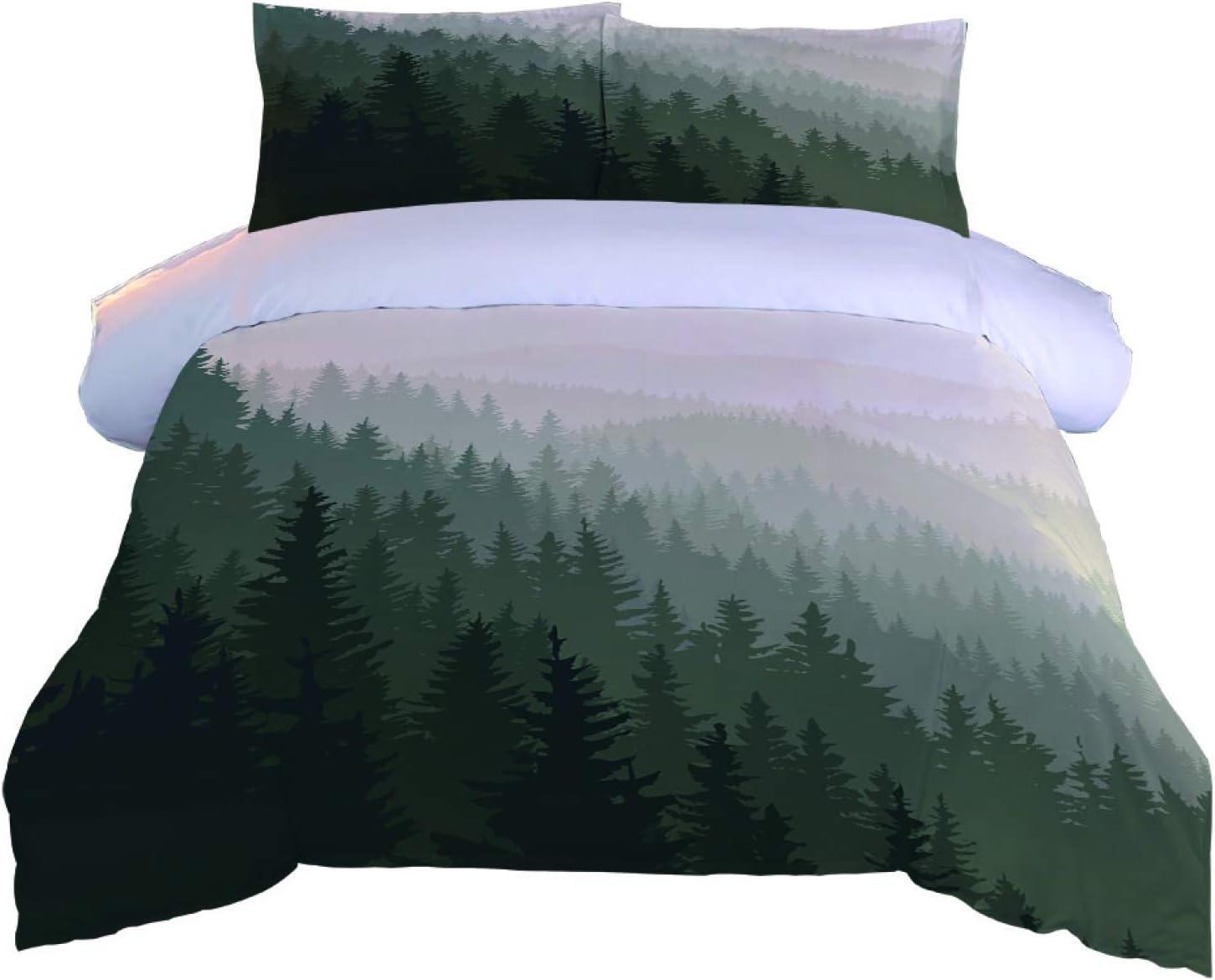 MENGBB Duvet 1 year warranty Cover Set 3D Effect Ultra-Cheap Deals forest Foggy - x 53