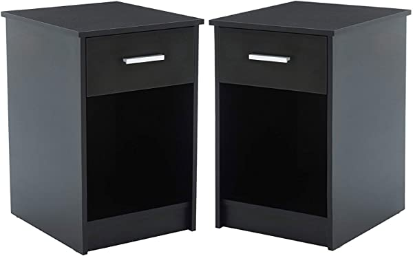 ZOUQILAI Modern Black Nightstand Bedside Table MDF Tall Bedroom End Table Set Of 2 With Drawer And Open Shelf