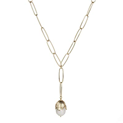 Rebecca Minkoff Textured Flower Y-Necklace w/ Fresh-Water-Pearl (Gold/White) Necklace