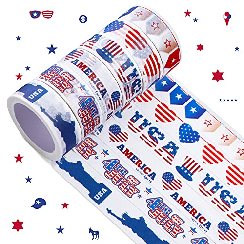 6 Rolls Independence Day Washi Tapes July 4th Decorative Star Flag Statue of Liberty Pattern Tapes Craft Masking Tape for Scrapbooking July 4th Party Decors Envelopes Wrapping Crafts, Red White Blue