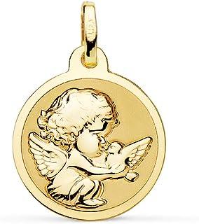 Medaglia di bambino con angelo Burlone e uccello oro giallo 18 K 16 mm lucido - incisione personalizzata inclusa