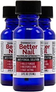 Better Nail - Maximum Strength 25% Solution for Anti Fungal Nail Support | Nail Solution for Toenail & Fingernail Fungus | .5oz or 15ml - 3Pack