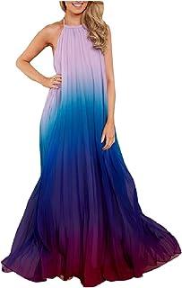 cfa5f32a530 Highisa Women Halter Chiffon Ombre Tropical Aloha Holiday Long Dress