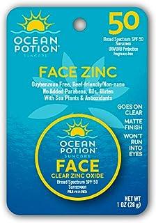 Ocean Potion Face Clear Zinc Oxide, Sunscreen SPF 50, 1 Ounce each, Pack of 3