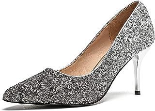 グラデーションスパンコールハイヒール鋭い浅い口セクシーな女性の靴スティレット薄いナイトクラブスタイルシングルシューズファッション (色 : ブラック, サイズ さいず : 36)