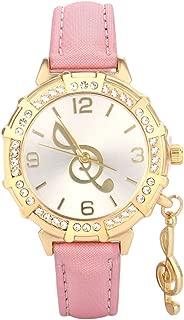 Triskye Womens Analog Quartz Watches Business Casual Musical Note Tower Rhinestone Pendant Leather Strap Band Round Wrist Watch Girls Ladies Wristwatch Bracelet for Teen Girls