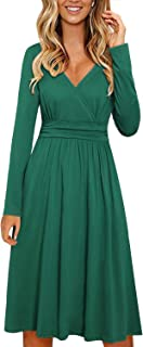 STYLEWORD Women's Long Sleeve V Neck Wrap Waist Casual Party Midi Dress with Pockets