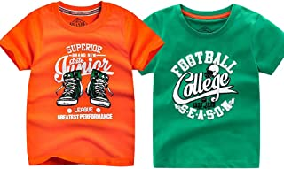 2-Pack Boys T Shirts, Cool Solid and Graphic Tees for Toddler Boys, Kids (Orange and Green,10-11 Years)