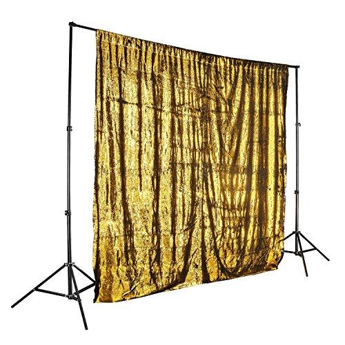 walimex pro Paillettenhintergrund 2,6 x 2,4 m zweifarbig Gold/schwarz metallic, Sequin Vorhang, Foto Hintergrund, Stoffhintergrund