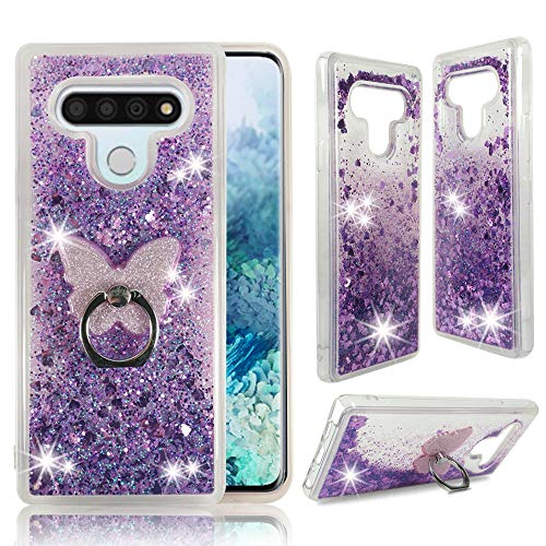 Zase LG STYLO 6 Clear Phone Case, for LG Stylo 6 Plus [Liquid Glitter Sparkle Bling] Cute Girls Woman Protective Soft Cover Shockproof Waterfall Floating Quicksand w/Phone Ring Grip Holder (Purple)
