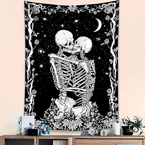 Haibimen Skull Tapestry Wall Hanging, Black and White Tapestry Skulls Kissing Lovers Skeleton Goth Tarot Ouija Dark Wall Decor for Bedroom (30''×40'')