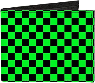 Canvas Bi-Fold Wallet - Checker Black Neon Green