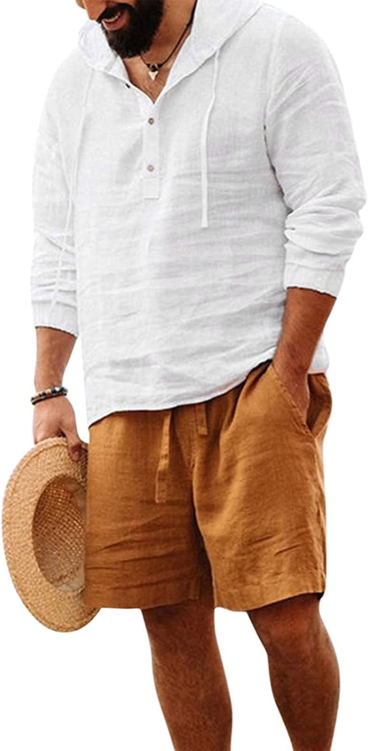 FUNEY Mens Long Sleeve Pullover Hoodie Linen Henley Shirts Casual Lightweight Drawsting V Neck Cotton Tops Yoga Shirts