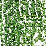 MUOIVG (15pcs x 2.2m) Hiedra Hojas de Vid Artificial Guirnalda Plantas Decoración Verde Follaje de Seda para Decoración Exterior/Interior Boda Hogar Seto Jardín Escalera Ventana Balcón Valla Fiesta