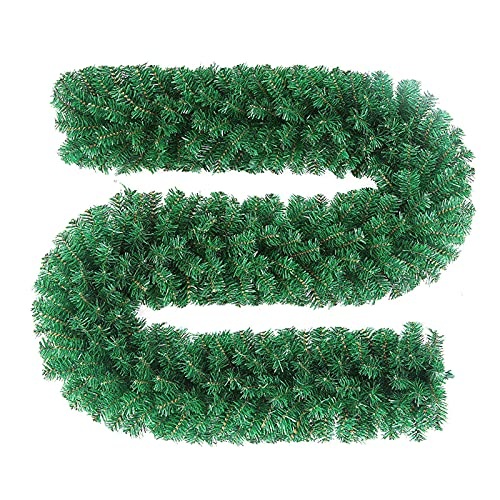 SacJkt Artificial Guirnalda de Navidad, 2.7m Guirnalda de Hierba Verde para Decoración, Guirnaldas Decoradas al Aire Libre de Interior de PVC para la Fiesta de Navidad Chimenea Escalera