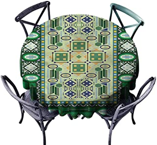 Longbuyer Outdoors Round Tablecloth Afghan,Oriental Shapes Pattern Wrinkle Free Tablecloths Diameter 50