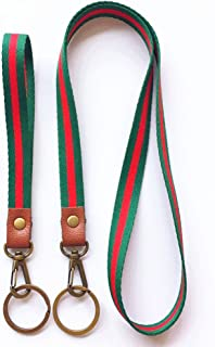 Retro Style Neck Lanyard Hand Wrist Strap(1 Long+1 Short) with Bronze Hook and Key Ring for Exhitations, Keychains, ID Name Tag Badge Holders and Other Portable Items (Red/Green)