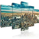 murando Cuadro en Lienzo Ciudad 200x100 cm Impresión de 5 Piezas Material Tejido no Tejido Impresión Artística Imagen Gráfica Decoracion de Pared New York NY Nueva York d-B-0069-b-n
