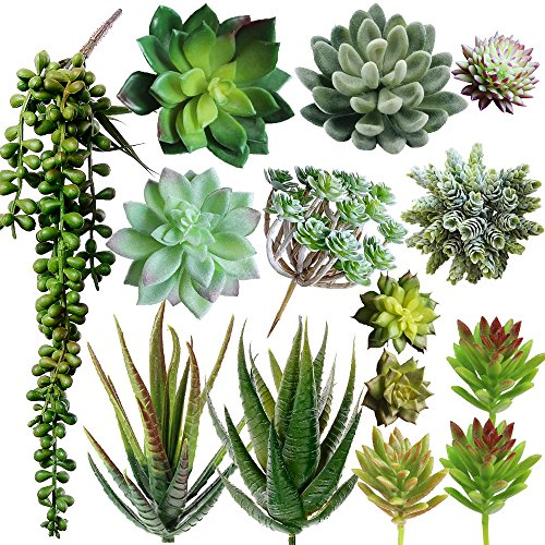 Supla Pack of 14 Assorted Artificial Succulents Picks Textured Aloe Faux Succulent Pick Succulent Stems Fake Succulent Bouquet String of Pearls Succulent Faux Succulent Floral Arrangement Accent