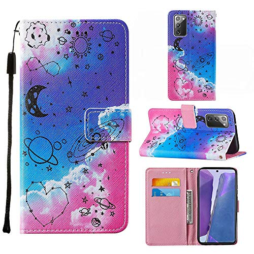 Miagon Lanyard Brieftasche Etui für Samsung Galaxy S20 FE,Kreativ Universum Herz Entwurf Pu Leder Magnetverschluss Weich Innere Buchstil Schutzhülle Klapphülle mit Standfunktion