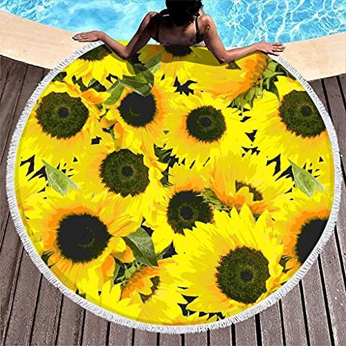 Wraill Toalla de playa redonda con flores amarillas con girasol, toalla de playa, mantel de picnic, mantel de playa para hombre y mujer, de secado rápido, con borlas, color blanco, 150 cm