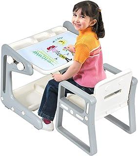 COSTWAY Mesa para Niños con Silla Pizarra Magnética Escrit