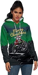 Blusa para Mujer, Unisex, Pareja, Estampado navideño, Manga Larga, Jersey, Sudadera con Capucha, Tops, Tops de Manga Larga...