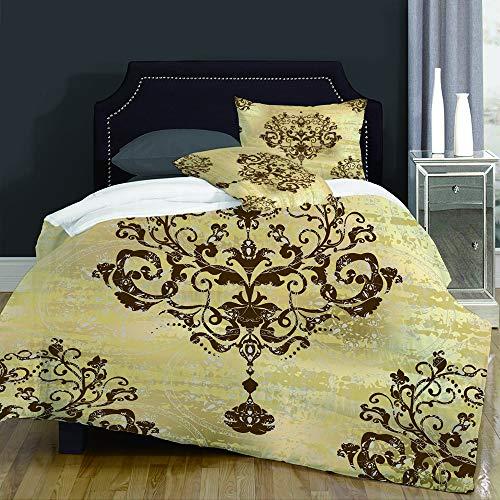 not Bettbezug,Bright Silver Modern Damask Floral Pattern Vintage Rococo Royal Antique Gold Baroque Old Design,Bettwäsche Set Weich Atmungsaktiv Microfaser Betten Set,Mann Damen