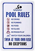 HANTAJANSS Pool Rules Swim at Your Own Risk Warning Metal Sign, Safety Tin Signs for Swimming Pool, Water Park.