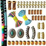 42PCS Dreadlocks Beads Norse Viking Hair Tube Beads Turquoise Braids Rings Rainbow Hair String Spiral Coil Locs Jewelry Twists Beard Accessories,Gold Silver