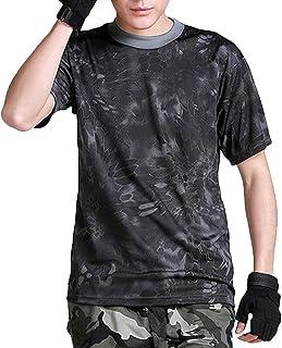 (ガンフリーク) GUN FREAK 迷彩柄 半袖 Tシャツ タクティカル ストレッチ メッシュ サバゲー (タイフォン ブラック, L)