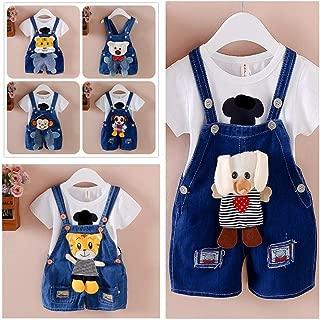 RONSHIN Children Boys Girls Cute Cartoon Baby Suspenders Shorts Jeans 80 颜色随机 0-1Y
