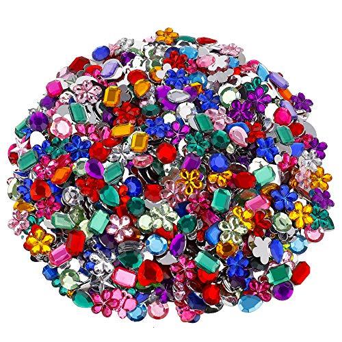 Strass di Acrilico Piatto Gemma di Cristallo Pietre Glitterate Strass Colorati per Decorazioni Artigianali Fai-Da-Te 8 Forme 1200 Pezzi