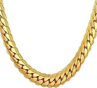"""گردنبند طلاکاری شده مردان U7 مردان 18K با جعبه هدیه 18KGP جواهرات تمبر هیپ هاپ 4 رنگ 6 رنگ 6MM-9MM گردنبند زنجیره ای مارهای پهن ، 18 """"-32"""" ، پیشنهاد حکاکی سفارشی شخصی"""