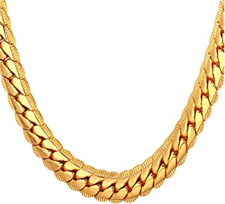 Men Women 18K Gold Plated Necklace with Gift Box 18KGP Stamp Hip Hop Jewelry 4 Colors..