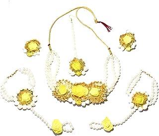 Earrings BajuArm Band Maangtika Orange and Yellow Floral Haldi Mehandi Wedding Bridal Necklace Bracelets Attached Ring Set of 9 PC