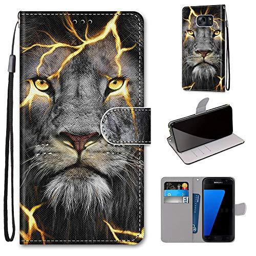 Miagon Flip PU Leder Schutzhülle für Samsung Galaxy S6,Bunt Muster Hülle Brieftasche Case Cover Ständer mit Kartenfächer Trageschlaufe,Wütend Löwe