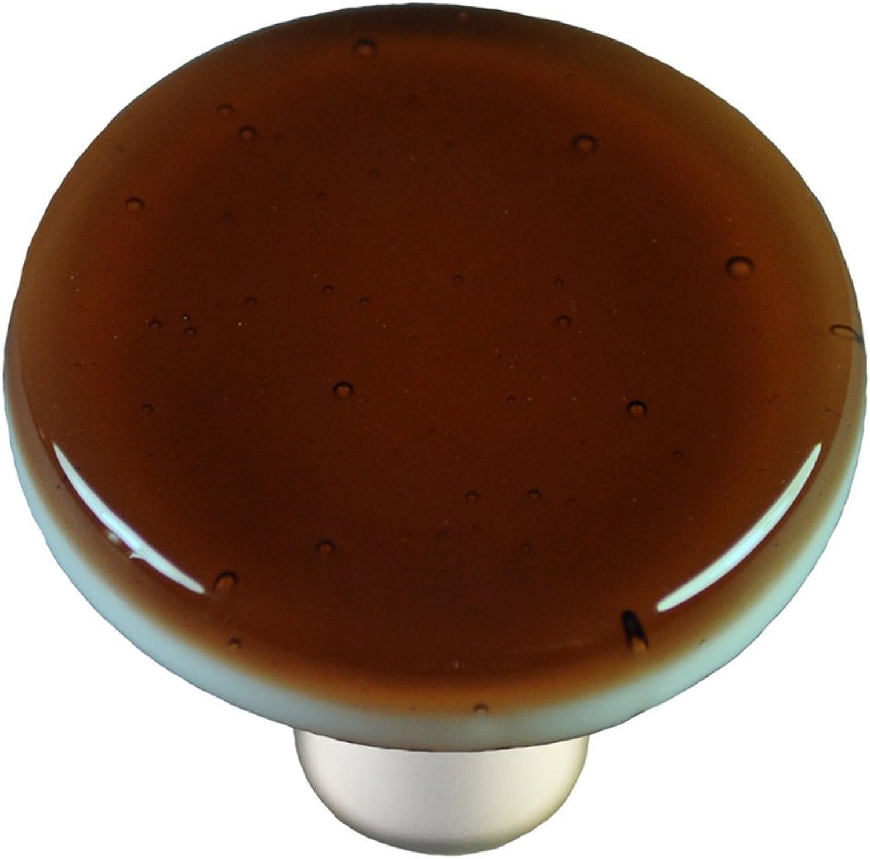 Hot Knobs HK1016-KRB Tan Round Glass Cabinet Knob - Black Post