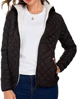 Womens Warm Hooded Slim Fit Pockets Zipper Long Sleeves Short Overcoats Outwear Top